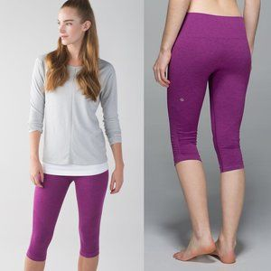 Lululemon Pink Seamless Mid Rise In The Flow Crop
